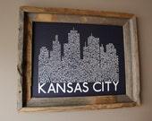 Kansas City Skyline Word Art Print (Dark Blue) - Unframed