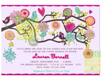 Birds Baby Shower Invitation - Lilac Pink teal Birds Baby Shower Invitation - Vintage Rustic Baby Shower - Lilac Birds Baby Shower Invitatio