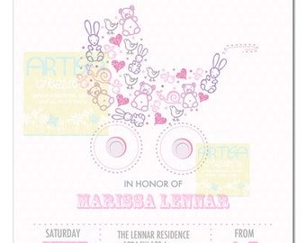 Pink Lilac Baby Shower Invitation, Pink Lilac Baby Carriage, Pink and Lilac Baby Shower, Invite Baby SHower Pastel Pink Lilac, Pink Purple