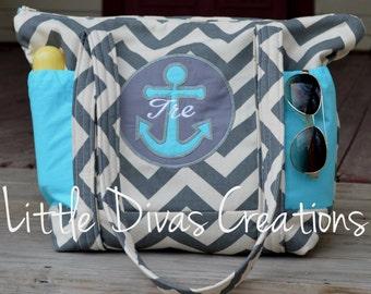 Handmade Nautical zip top diaper bag or Busy Mom's Bag