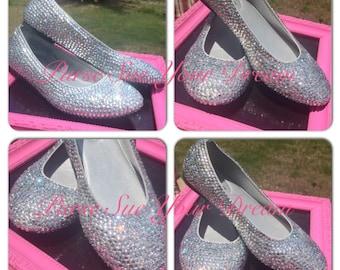 Custom Crystal Rhinestone Ballet Flat Shoes - Wedding Shoes - Bridal Shoes - Adult Size Swarovski Crystal Shoes