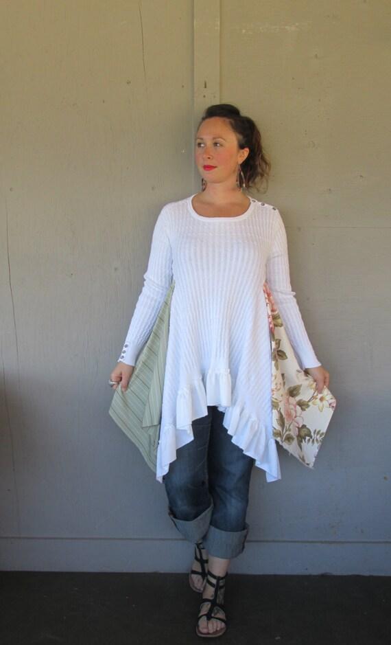 Large X Large Upcycled Sweater Tunic Romantic Boho Clothing
