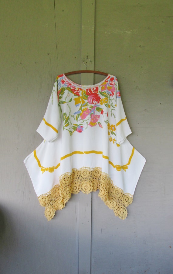 summer lagenlook tunic dress eco upcycled lace clothing