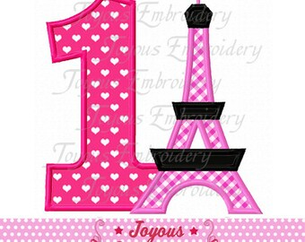 Instant Download Eiffel Tower With Number 1 Embroidery Applique Design NO:1699