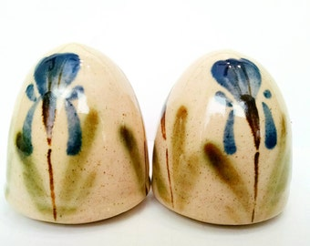 Salt and Pepper Shakers Yellow Stoneware Green and Blue Floral Hand Painted Flowers Yellow Ware Dome Egg shaped
