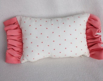 Adorable Vintage Style White Cotton with Salmon Pink Dot Throw Pillow with matching Salmon Pink Ruffle 10 x 6 NEW!