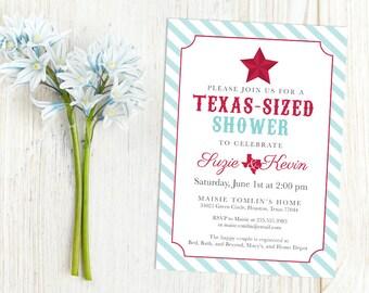 Texas Lone Star Western Country Wedding Printable Couples Bridal Shower Invitation, Custom Rustic Dallas Houston Texas-Sized Invite