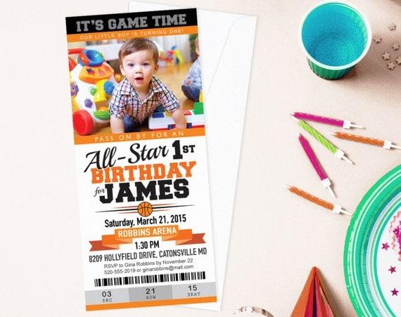 basketball ticket birthday party custom photo invitation march. Black Bedroom Furniture Sets. Home Design Ideas