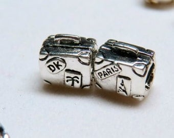 925 Sterling Silver Plated Travel Suitcase european type charm with the large hole.