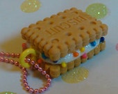 Miniature Sweets Glittered and Rainbow Sprinkled Vanilla Ice Cream Sandwich Cookie Necklace Yummy Dessert Treat