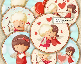 Sweet Valentine Angels - 2.5 inch circles - set of 12 - digital collage sheet - pocket mirrors, tags, scrapbooking, cupcake toppers