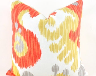 Outdoor/Indoor Pillow Covers ANY SIZE Decorative Pillows Orange Pillows Ikat Pillow P Kaufmann Journey Tangerine Orange