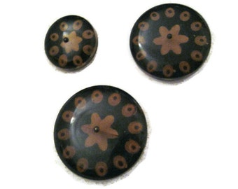 1940s lucite carved buttons with metal shanks