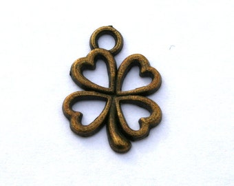 6 Antique Bronze Four Leaf Clover Charms/Pendants