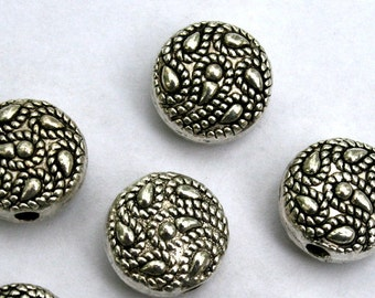 10.5 mm Antique Silver Round Feather Shamballa Spacer Beads
