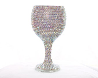 Custom Made Wine Glass Wedding Bridal Glasses Sweet 16 Iridescent Rhinestone Crystals Weddings Bridal Accessories Decor Real Weddings Party