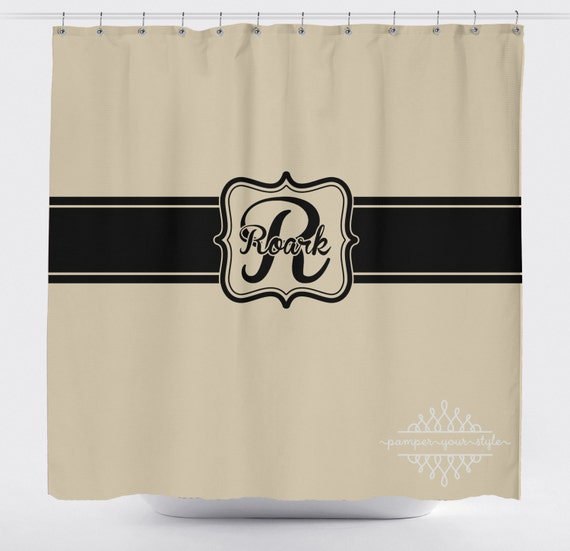 Tan And Black Monogrammed Shower Curtain Classy Bathroom