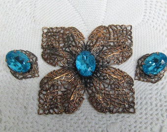 Vintage Copper Filigree Brooch & Earrings with Large Turquoise Rhinestone