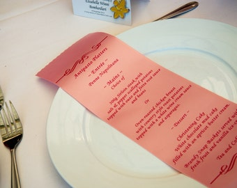 10 x Custom printed Ribbon Menu's - your personalized menu and your choice of color!
