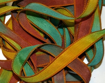 "Arbor 42 ""hand dyed  silk ribbon// Silk Wrist Wrap  Bracelet Ribbons// Silk Wrap Ribbons// Silk Ribbons//By Color Kissed Silk"