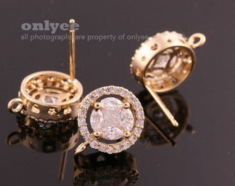 1pair/2pcs-10mm Gold Plated over Brass CZ Double Round Stud Cubic zirconia, 925 sterling silver post Earring Findings(K830G)