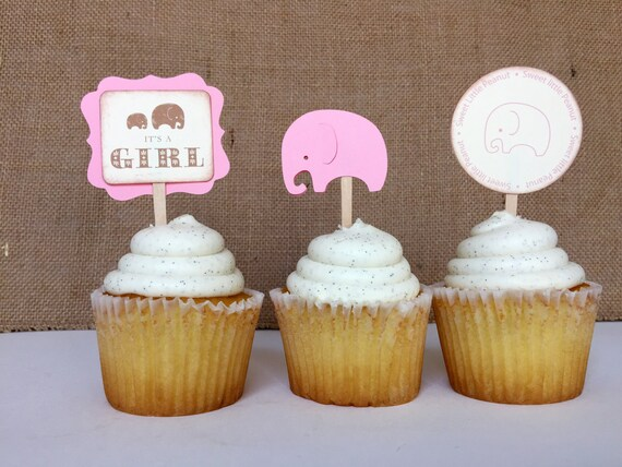 It's a Girl Elephant... Vintage Baby Shower Cupcake Toppers.