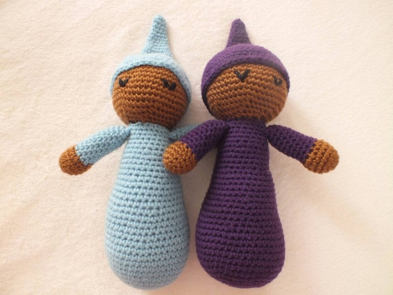 Cute Cuddly Crochet Doll Safe Baby Toy Twins- Amigurumi (Blue and Purple shown)(Made to Order)