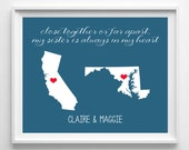Sister Long Distance Print-Choose Your States and Color from paper and palette
