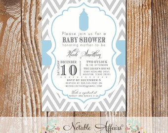 Gray Chevron and Baby Blue Bottle Baby Shower invitation - choose your wording and colors if needed