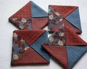 Folded Fabric Coasters ; Candle Mats ; Mug Rugs ; Blue and Red Coasters ;  Little Quilts ; Home Decor