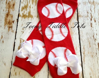 Baseball Leg Warmers, Baby Leg Warmers, Red and White Leg warmers, Toddler Leg Warmers, Boy Leg Warmers