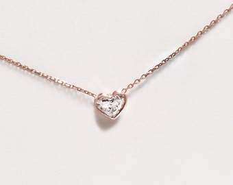 Incredible Heart shape diamond necklace - LOVE - Your Choice of Yellow, White, or Rose Gold