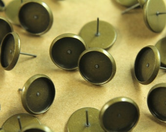 30 pc. 12mm Ear Post Blank Cabochon Setting Antique Bronze, Nickel Free | FI-112