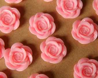 CLOSEOUT - 12 pc. Baby Pink Open Rose Cabochons 18mm | RES-410