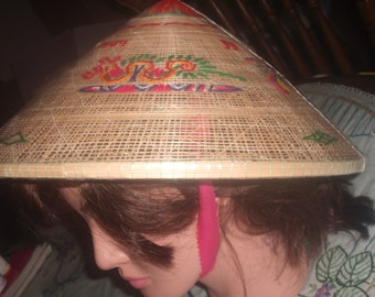 Vintage EMBROIDERED COOLIE Gardening HAT