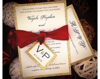 Red and Gold Glitter Wedding Invitations, gold glitter invitations, sparkle invitations, red invitations, gold invitations