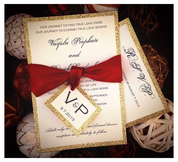 red and gold glitter wedding invitations gold glitter, Wedding invitations