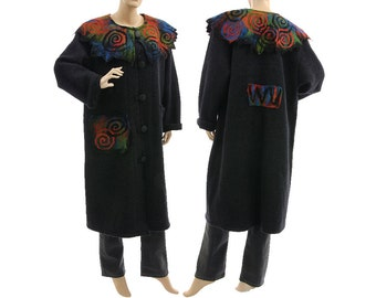 Discount 191 USD - was 421 now 230, almost black winter wool coat, boiled wool coat with felt collar & pocket, plus size L-XL, US size 14-18