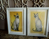 Charming Pair of Vintage Prints of Paintings by Girard Goodenow, 1964 DAC NY Cat Prints Signed  by Girard