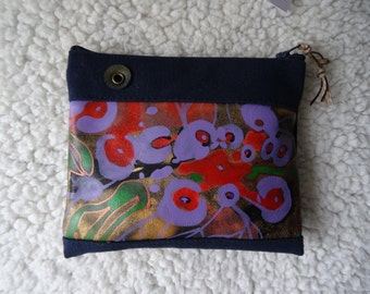 Handmade leather and denim purse, 16 x 13.5 cm