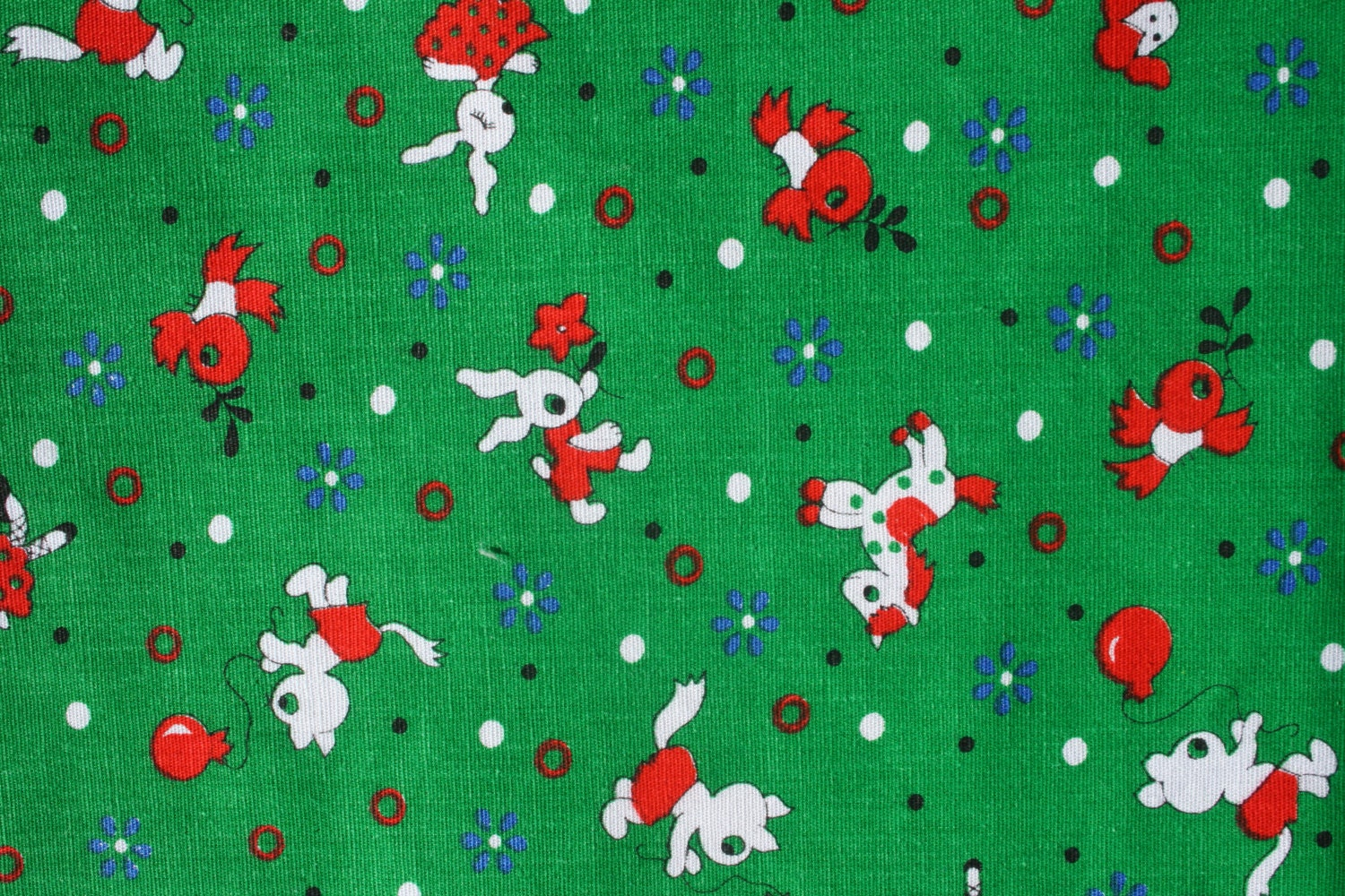 Vintage small print cute kids cotton fabric by binguspingusart for Cute childrens fabric