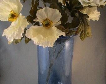 Tall Large Italian Blue, Bubble, Vase, Hand Blown,  [Alo]