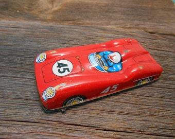 Antique toy race car, Red tin metal race car, Antique toy, Automobile, Vintage toy, Metal car, Toy race car
