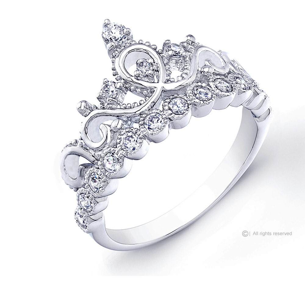 Rhodium-plated 925 Sterling Silver Crown Ring / Princess