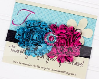 Satin Flower Headband, Turquoise, Hot Pink, Swirls, Black Satin Elastic -SHIPS FREE!
