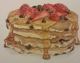 Watercolor Painting/Food/Realism - Breakfast Time