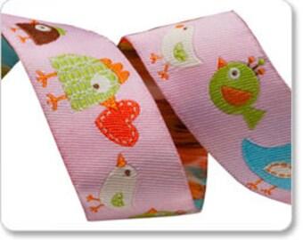 "Happi Birds on Pink Jacquard Ribbon - 7/8"""