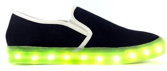 chaussures de led s 39 allume sneaker blanc avec la par neonnancy le fait main. Black Bedroom Furniture Sets. Home Design Ideas