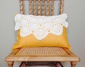 Linen Pillow with Vintage...
