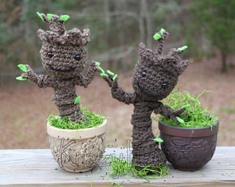 Crocheted Baby Groot.